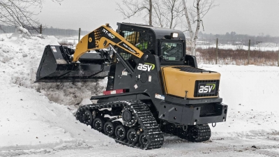 ASV RT 60 clearing snow